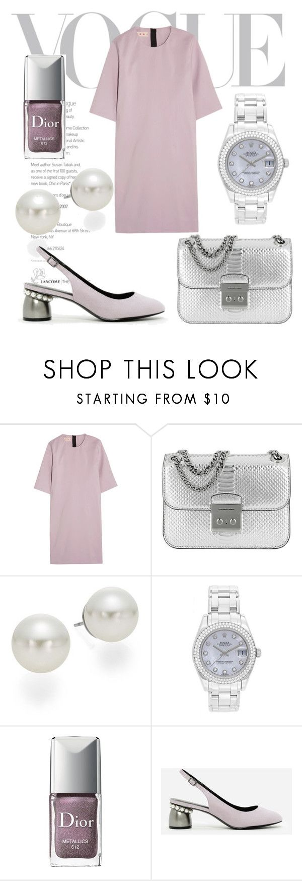 """""""An Elegant Occasion"""" by doragal ❤ liked on Polyvore featuring Marni, MICHAEL Michael Kors, AK Anne Klein, Rolex, Christian Dior, CHARLES & KEITH, Silver, metallic, pearl and lavender"""