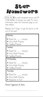 Universal Homework Model: Star Homework as seen on Third Grade Troop  http://www.thirdgradetroop.com/