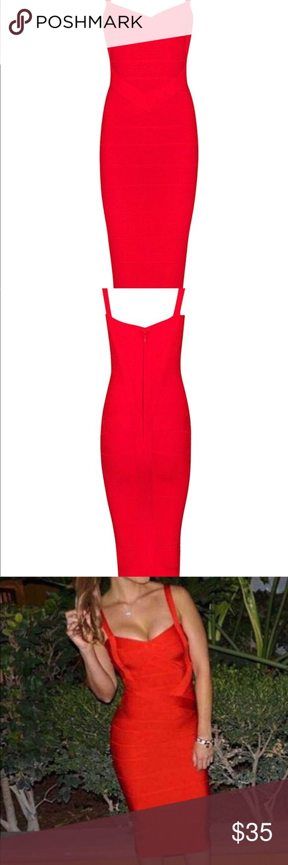 Herve Ledger inspired red bandage dress Herve Ledger inspired red bandage dress. Very flattering on, bright red color perfect for a holiday party, wedding, or date night. The midi length and hugging material makes it both sexy & classy. Size x small but would also fit a S. Fits like a glove.  NEVER WORN, new without tags in excellent condition!! Dresses Midi