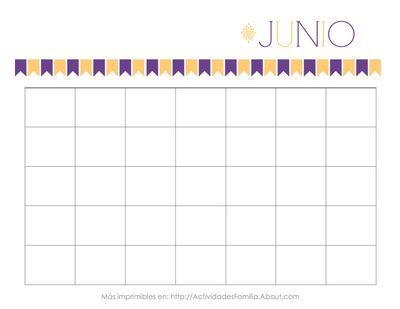 Calendario Junio Personalizable. Para imprimir Gratis, organizar tu vida y adornar tu escritorio #Printable #Calendar #Calendario #Espanol