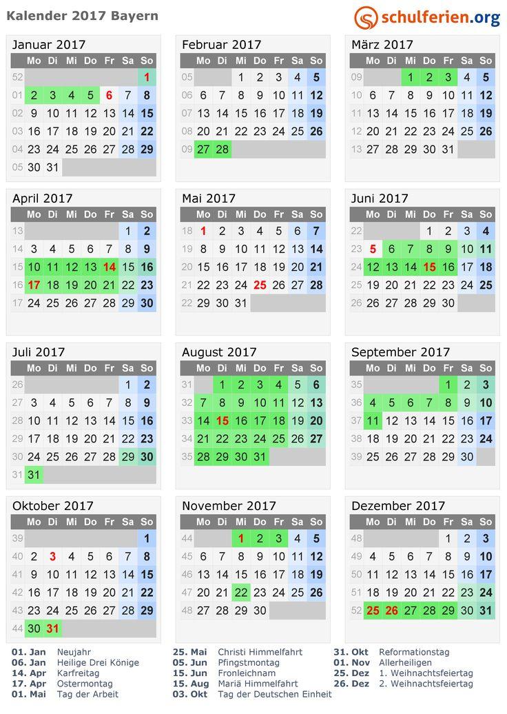 Kalender 2017  Ferien und Feiertagen Bayern