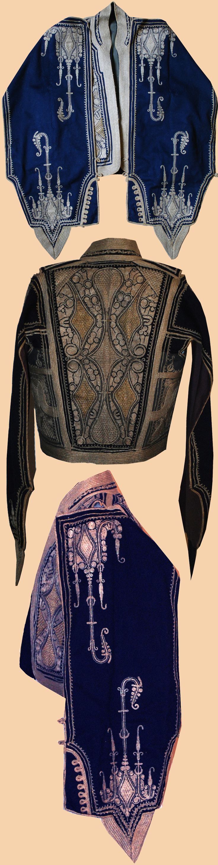 Late-Ottoman 'kartal kollu cepken' (jacket with eagle sleeves), for men. Also called: 'camedan'. Silver embroidery on combing wool. First decade of the 20th century.