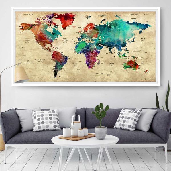 Push Pin Travel World Map, Push Pin Travel Map, Watercolor World Map Print, Push pin world map, pushpin map, Wall Art, world map poster (L4)