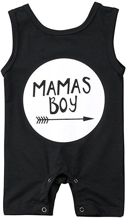 2d89ece7bd81 Amazon.com  Newborn Baby Boys Sleeveless Boss Man Print Romper Black ...