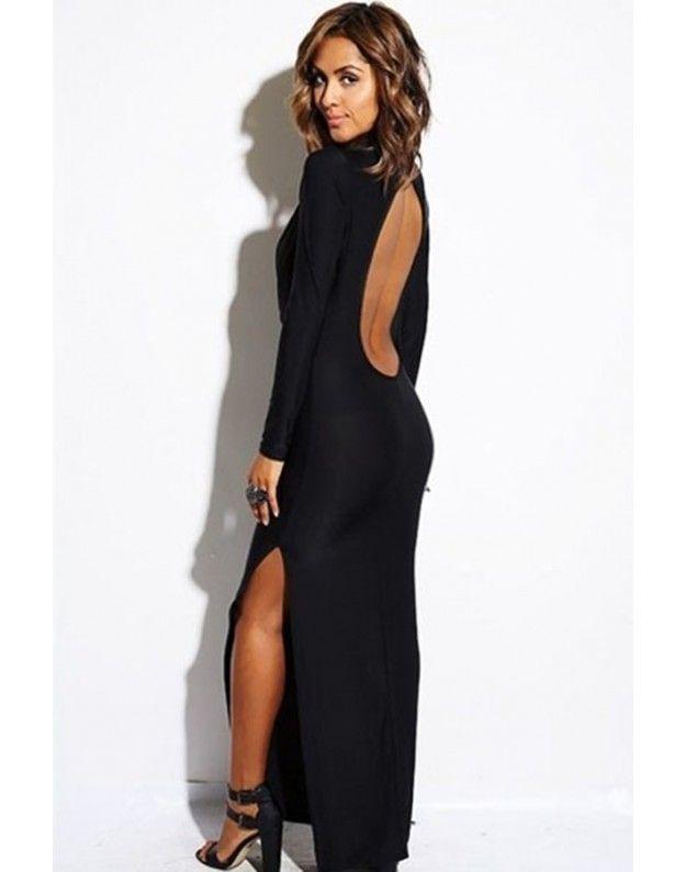 Vestito nero lungo schiena scoperta