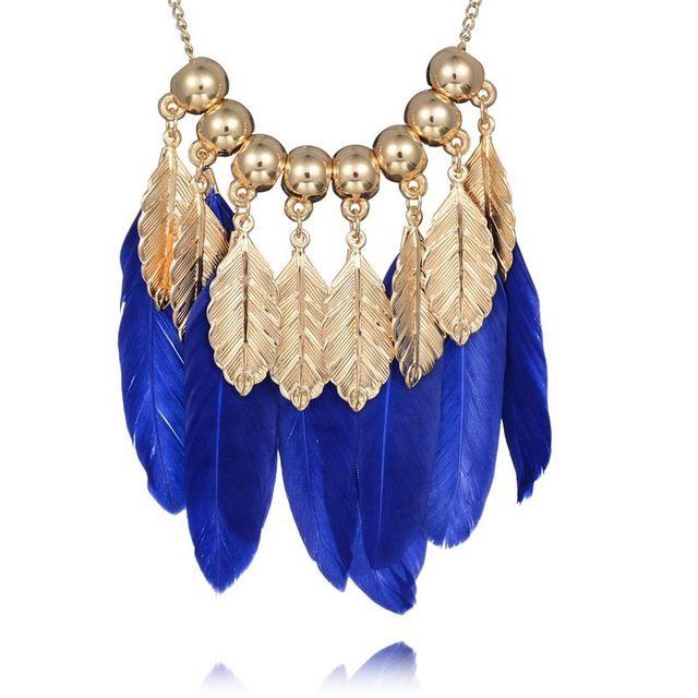 Костюм Ювелирные Изделия 2016 Модный бренд Золото Оставляет Старинные Перо Долго Ожерелья Шкентеля Для Женщин Индийские Ювелирные Изделия Продажа Подарок