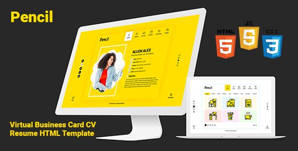 Pencil Virtual Business Card Cv Resume Html Template Personal Resume Html Templates Templates