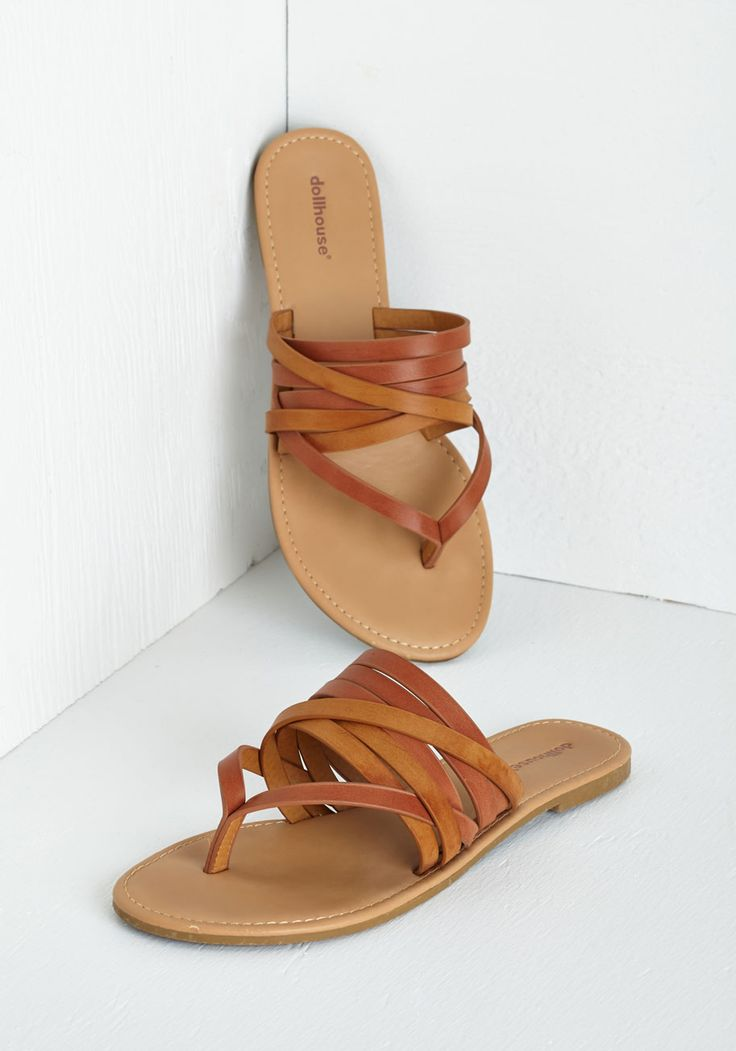 Rustic Kick Sandal. Welcome a laid-back air into your ensemble each time you slip your toes into these strappy flip flops. #tan #modcloth