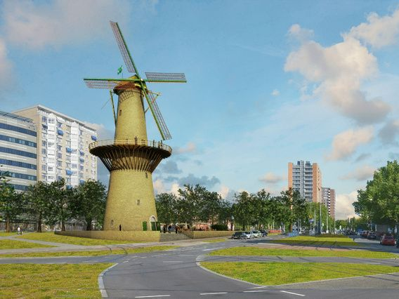 Windmill De Noord, reconstructed at Oostplein, Rotterdam - 70x75 cm, from € 206 - at http://www.werkaandemuur.nl/index/shop/nl/Frans-Blok