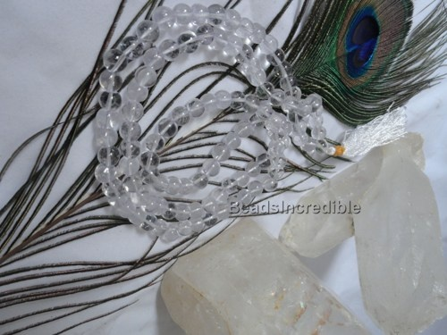 Crystal Quartz Beads Necklace - Spatik Crystal Sphatik Quartz 8mm 108  | Beadsincredible - Jewelry on ArtFire
