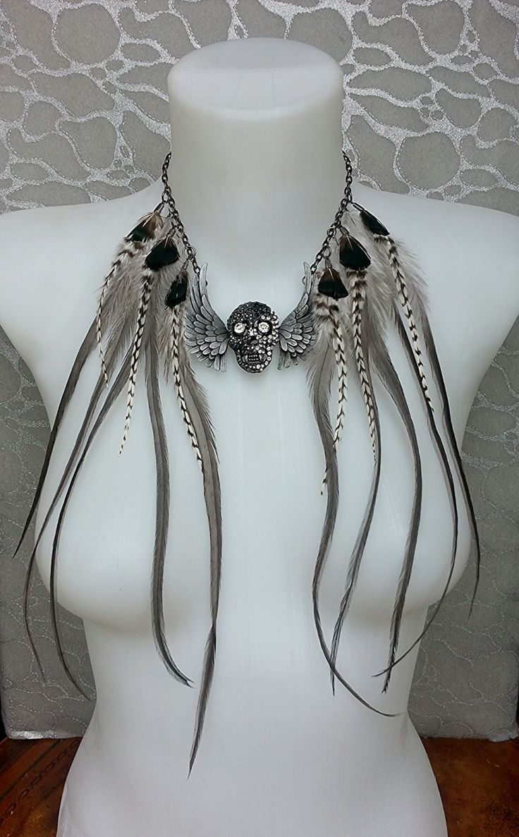 Feather Fringe Necklace Choker in Gunmetal by MEDICINAdesigns, $199.99
