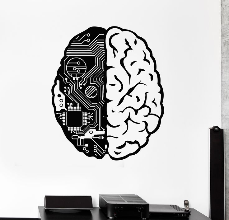 Vinyl Wall Decal Brain Chip Engineer Geek Computer Artificial Intelligence Stickers (374ig)