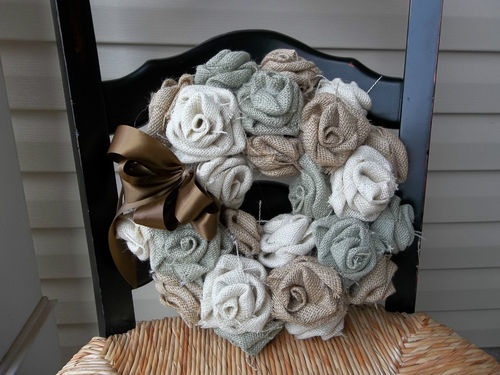 Shabby  Multi Colored Rose Burlap Wreath