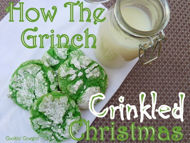 grinch cookies: Holiday, The Grinch, Christmas Cookies, Recipe, Christmascookies, Crinkled Christmas, Grinch Cookies, Grinch Crinkled, Cake Mix
