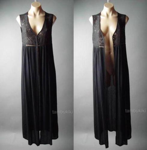 Black Gypsy Boho Pagan Wicca Victorian Goth Long Maxi Duster Dress 99 AC Vest L   eBay