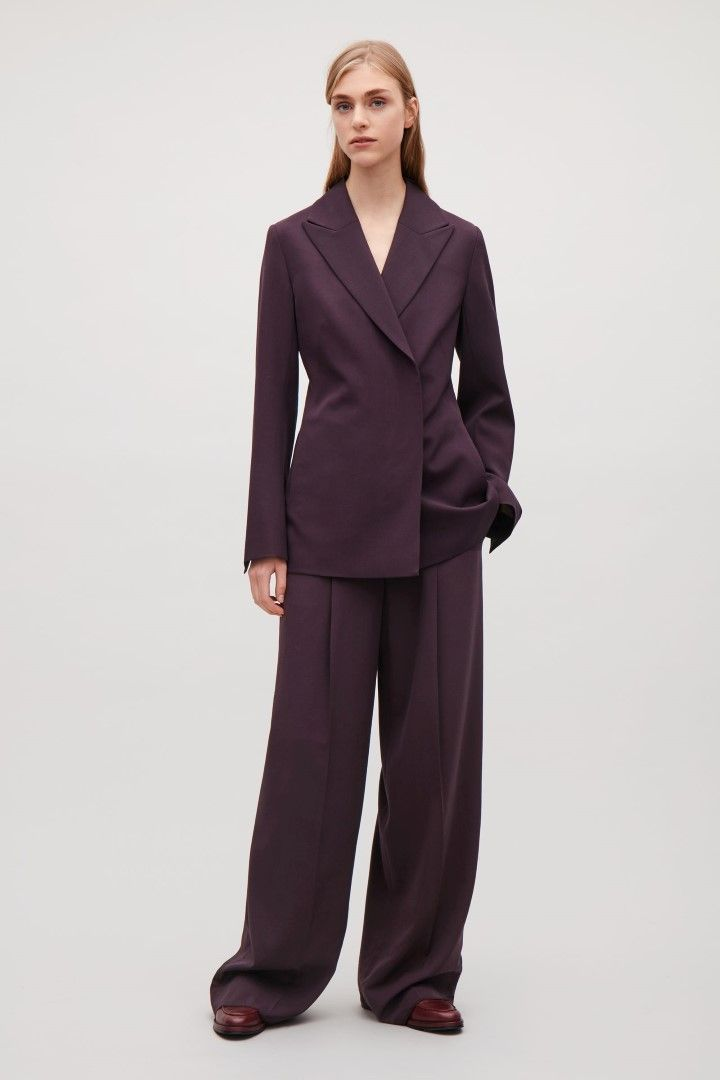COS image 1 of Waisted wool blazer  in Burgundy
