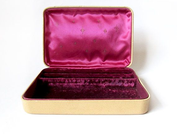 Vintage Gold and Fuchsia Farrington Small Jewelry Box - Travel Case