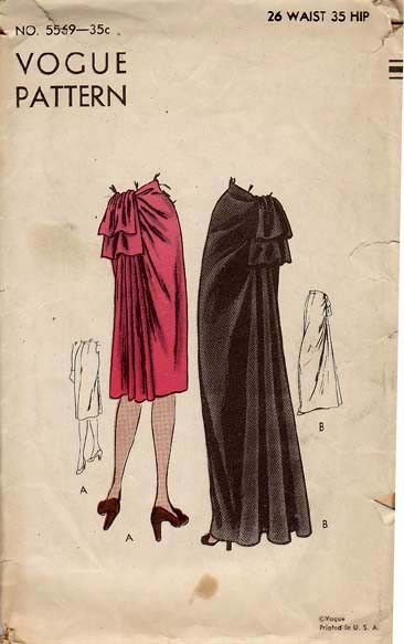 """V5569; 1945 'Bustle' Skirts, Original Vogue 5569 Complete with all 4-pieces, this is an ORIGINAL vintage pattern for the skirt on long or short length. Size: Size 14 fits 26"""" waist, 35"""" hip."""