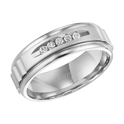 Engraved Mens Diamond Wedding Band With