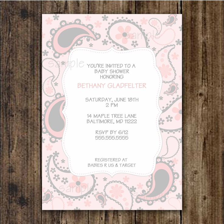 Chey--- Pink and Gray Paisley Baby Shower Invitation