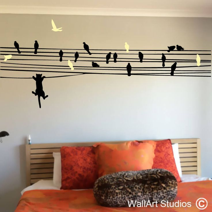 Cat Chasing Birds on Wire removable Wall decals www.wallartstudios.com