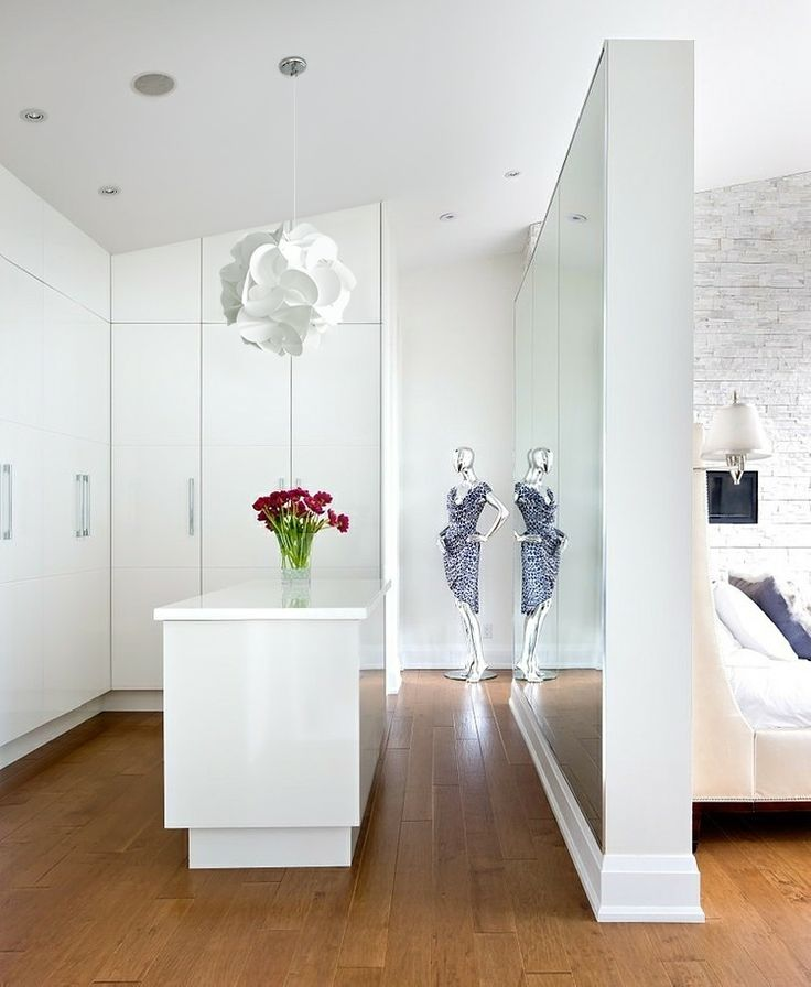 Akari Round Pandant Lamp installed in a walk-through closet. It blends in perfectly with the decor.