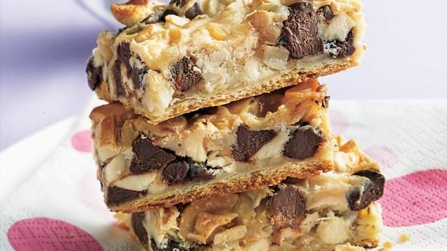 Crescent Layer Bars    INGREDIENTS  1can (8 oz) Pillsbury® refrigerated crescent dinner rolls or 1 can (8 oz) Pillsbury® Crescent Recipe Creations® refrigerated seamless dough sheet  1cup white vanilla baking chips  1cup semisweet chocolate chips  1cup slivered almonds  1cup cashew halves and pieces  1can (14 oz) sweetened condensed milk (not evaporated)
