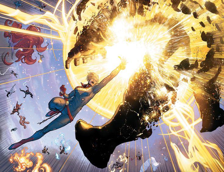 "Captain Marvel vs iron man ""Civil War II #8"""