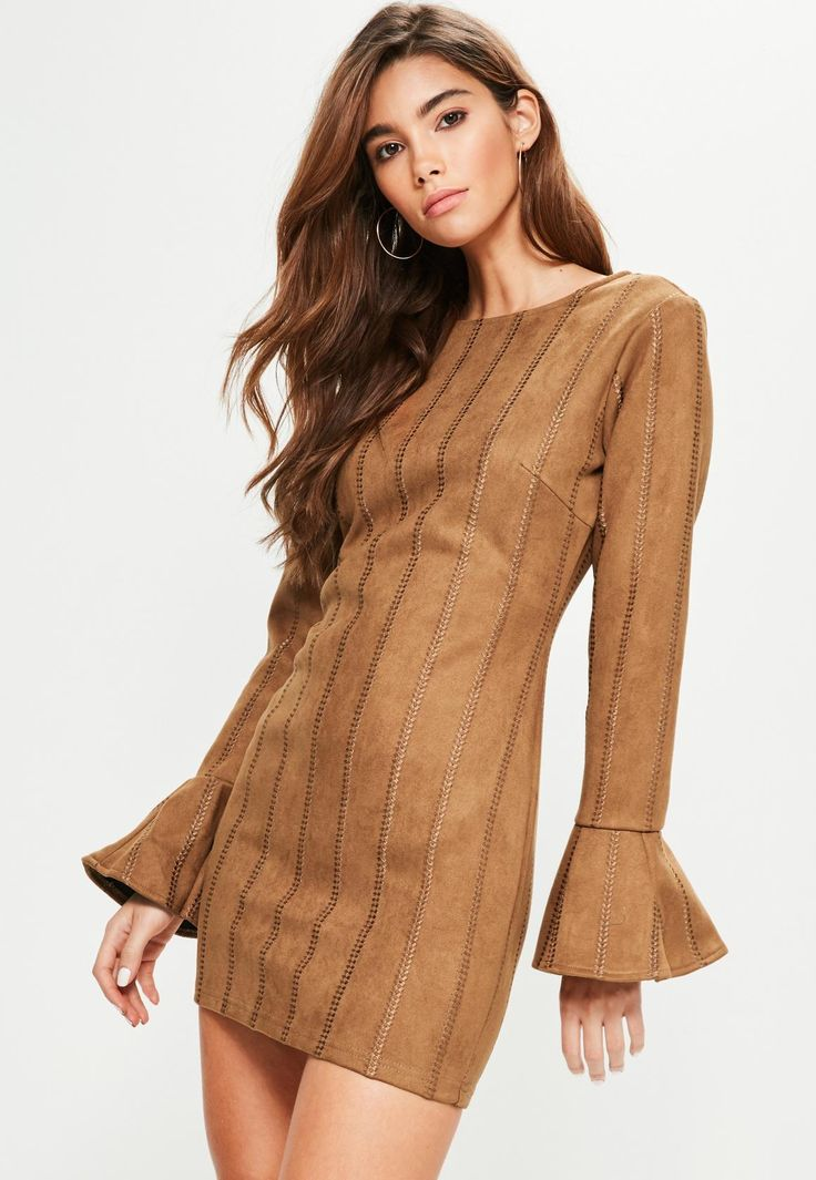 Tan Faux Suede Stitch Detail Bodycon Dress - Missguided