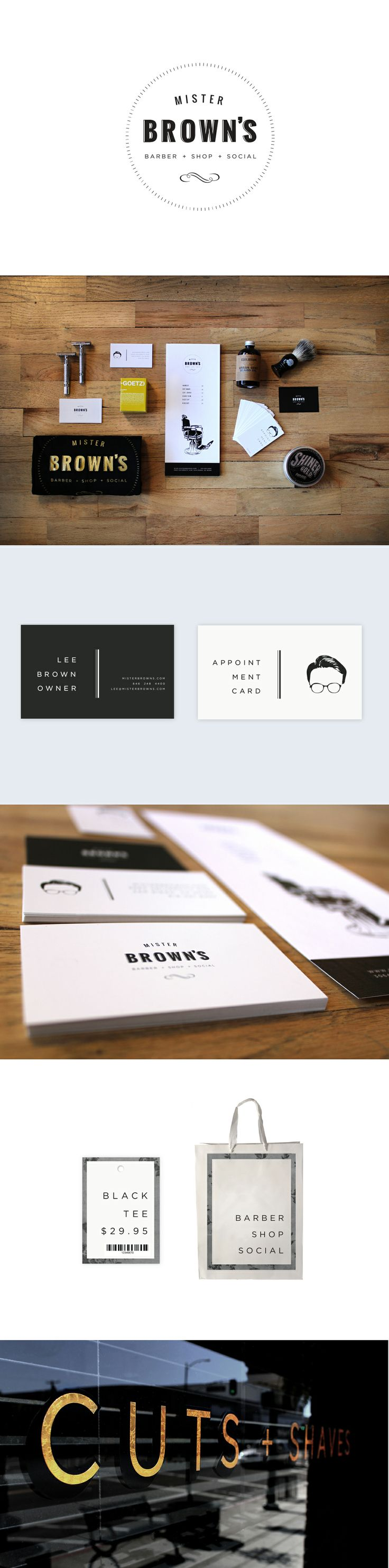 Branding for Mister Brown's - Modern Barbershop & Social Club in San Diego, CA.  Very classy identity. Stay Classy San Diego! :) Designed by Oui Will Agency .