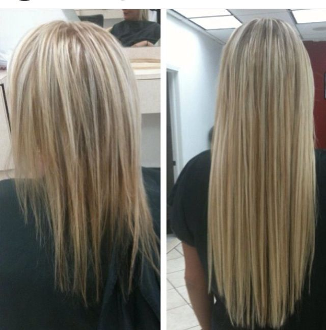 Hair extensions before and after