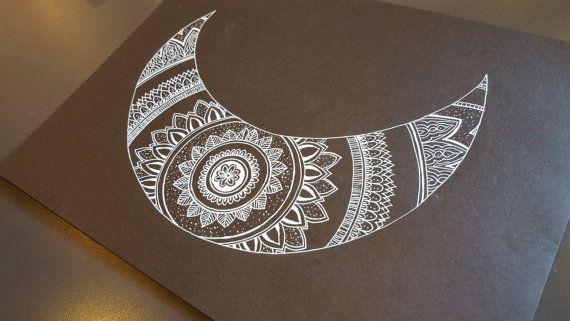 Cresent moon mandala. original