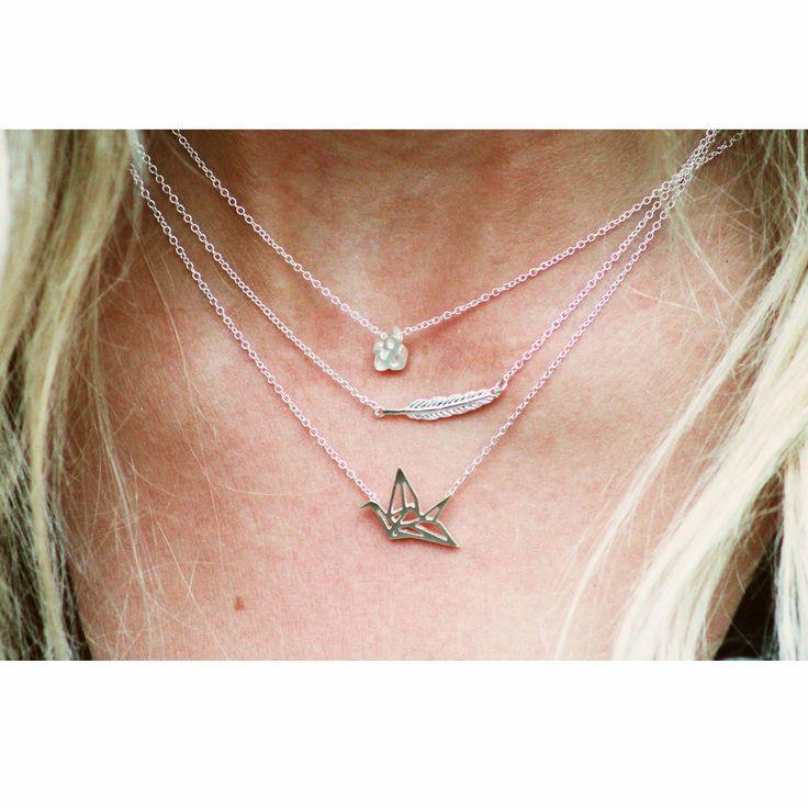 LUZ - Origami vogel ketting - zilver