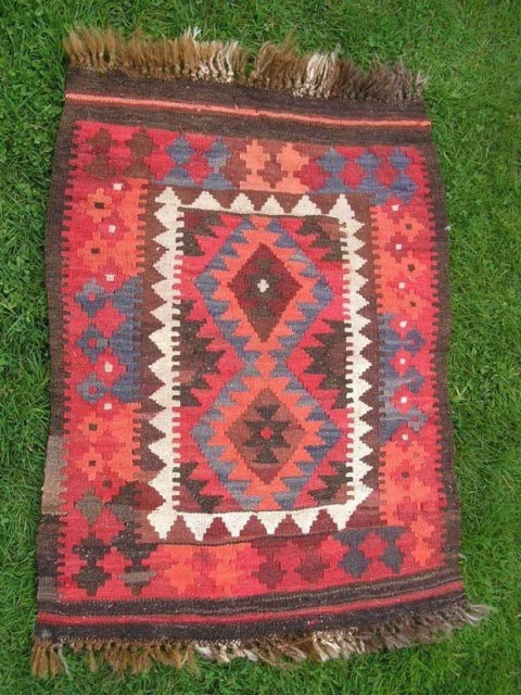 Vintage Tribal Kilim Rug Turkish Red Orange Blue