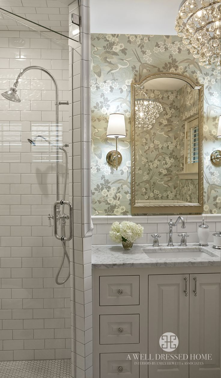 Pretty Bathroom, Subway Tiles, Sconces, Chandelier, Floral Wallpaper
