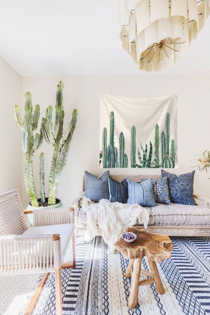 Bubble Cactus Tapestry Succulent Wall Decor Forest Homes Inspired By Scandinavian Deco Bohemian Living Room Decor Living Room Designs Bohemian Living Room