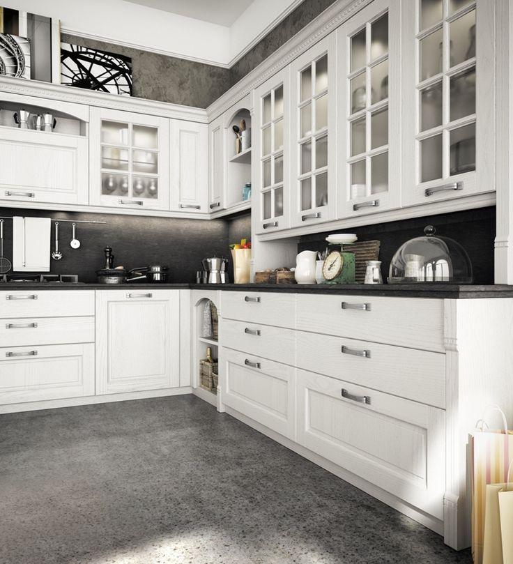 un particolare sull'ambiente cucina POPPI proposto nel color bianco