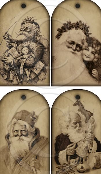 Set of 4 Large Sepia Vintage Santa Hang Tags Instant Download Printable