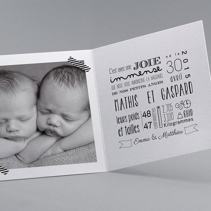 Faire-part de naissance personnalisés, faire-partardoise,vintage,photo, jumeaux fpc