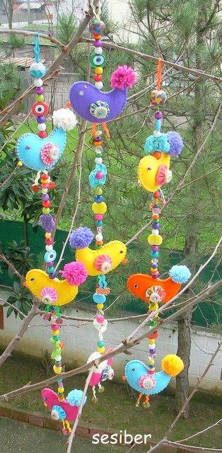 colorful felt birds on strings