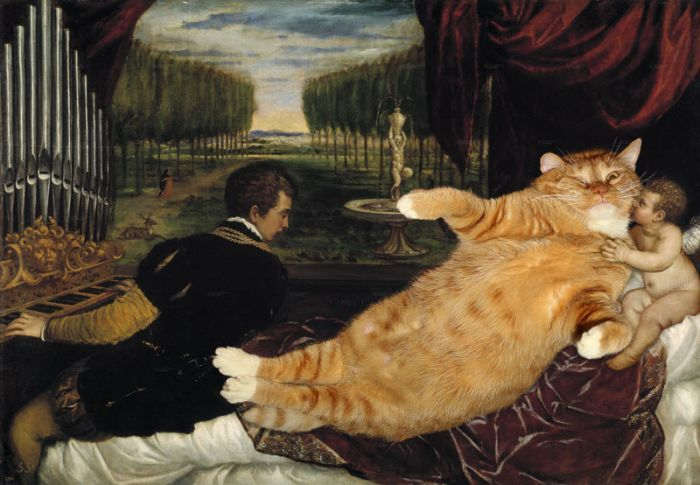 Famous paintings improved with overweight cats.
