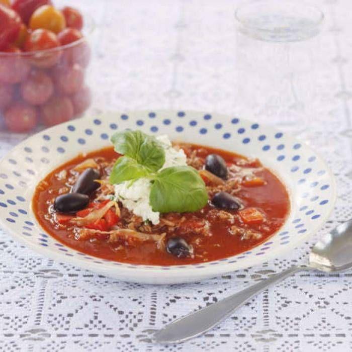 Köttfärssoppa med chili och ostkräm