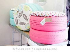 Reuse old tires as seating, ottomans or footstools - Automotive Decor #upcycled #recycled #diycarparts