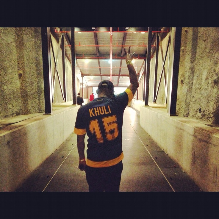 Khuli Chana in tunnel at FNB stadium just before performing at Kaizer Chiefs vs Sundowns game...