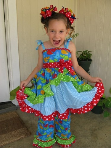 Custom Pageant Casual Wear Boutique whales twirl 4t 5 dress ocean OOC national