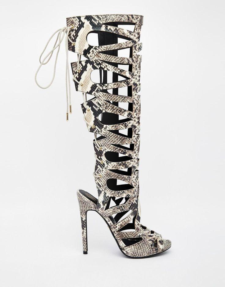 Kg By Kurt Geiger Hazard Gladiator Heeled High Leg Sandals