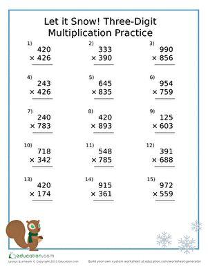 let it snow three digit multiplication practice teaching multiplication worksheets two. Black Bedroom Furniture Sets. Home Design Ideas