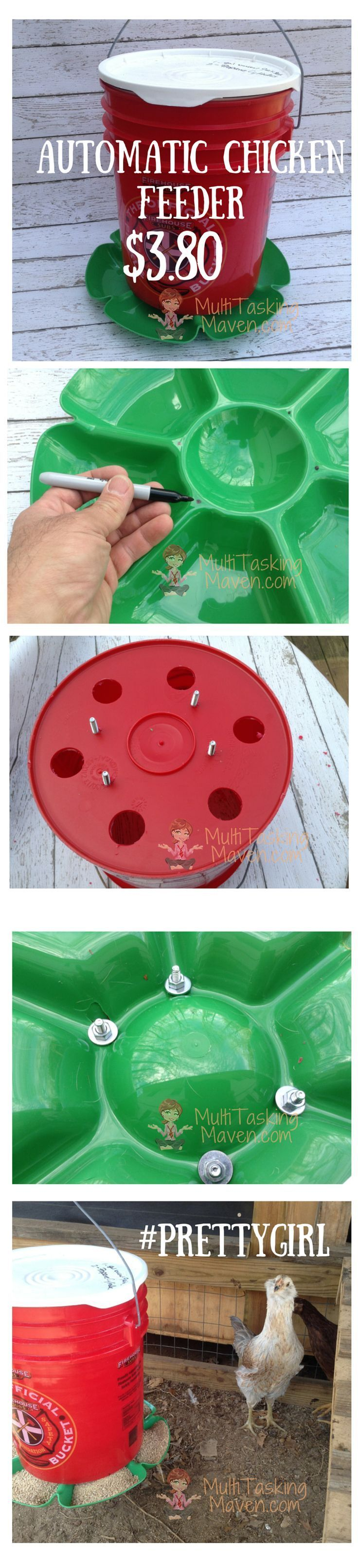 Easy DIY automatic chicken feeder for only $3.80 versus $30 Retail. Follow as we raise 15 chickens on our city farm. How to budget and money saving tips. For a Step by Step Tutorial Read More Here:  http://www.multitaskingmaven.com/blog/diy-how-to-make-an-automatic-chicken-feeder