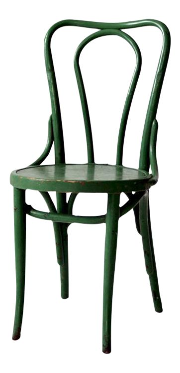 "This a Thonet style bentwood cafe chair circa 1930. The classic wooden chair features beautifully aged green paint. CONDITION In good sturdy condition with wear consistent with age and use. There is a very slight break/crack in the top bentwood bar back. 18.25"" seat height"