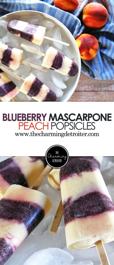 Blueberry Peach Mascarpone Popsicles: Creamy mascarpone is at the center of these deliciously fruity popsicles, featuring blueberry and peach.